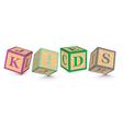 Word KIDS written with alphabet blocks vector image