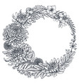 wreath with hand drawn chrysanthemum vector image vector image