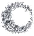wreath with hand drawn chrysanthemum
