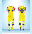 yellow red blue color football t-shirt mock up vector image