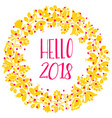 2018 new year yellow wreath isolated on white vector image vector image