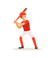 baseball player in red uniform swinging with bat vector image vector image