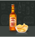 beer in bottle and chips in glass bowl on table vector image