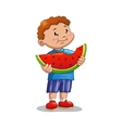 Boy with watermelon vector image vector image