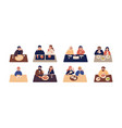 collection of cute people sitting at tables and vector image vector image