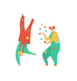 dancing clowns for party fun holiday in circus vector image vector image
