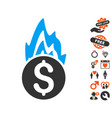 fire damage icon with dating bonus vector image vector image