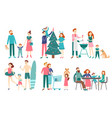 flat family people father mother and kids vector image vector image