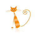 Funny orange striped cat for your design vector image vector image