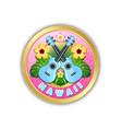 golden hawaii badge in polynesian style vector image vector image