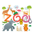 group of wild animals zoo vector image vector image