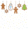 hanging gingerbread man tree snowman and stars vector image vector image