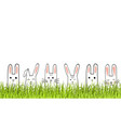happy easter banner with bunny faces and grass vector image vector image