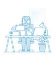 happy man office worker makes selfie in office vector image vector image