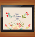 happy mother day with floral on tablet vector image vector image