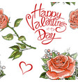 happy valentines day pink rose flowers elements vector image vector image