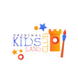 kids land club logo original colorful creative vector image vector image