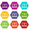 laptop with 3d design icon set color hexahedron vector image vector image