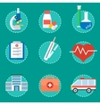 medical concept set of icons vector image