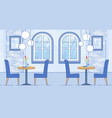modern cafe room interior in blue white color vector image vector image