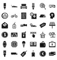 money economy icons set simple style vector image vector image