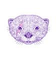 otter head lightning bolt drawing vector image vector image