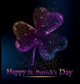 polygonal vibrant clover on dark background vector image vector image