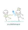 psychotherapist with a syringe catching up with vector image vector image