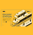 railway transport company website template vector image vector image
