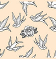 seamless pattern with swallows and roses in old vector image vector image