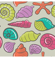 seashells and starfish seamless pattern vector image vector image