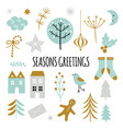 season greetings set vector image vector image