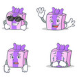 set of gift character with cool waving afraid vector image