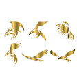 set six line art gold logo eagle can vector image vector image