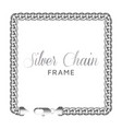 silver chain square border frame vector image vector image