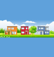 three modern houses in the landscape vector image