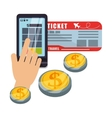 travel smartphone pay ticket money coin virtual vector image