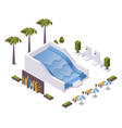 wave pool for surfing training isometric scene vector image vector image