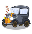 with trumpet old cartoon car in side garage vector image vector image