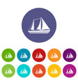 yacht set icons vector image vector image