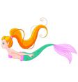 Cute red haired mermaid vector image
