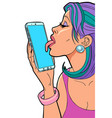 a woman loves a smartphone licks screen vector image vector image