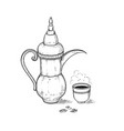 arabic vintage coffeepot and cup with a hot drink vector image