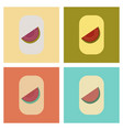 assembly flat icons poker slice of watermelon vector image vector image