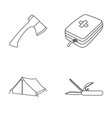 ax first-aid kit tourist tent folding knife vector image