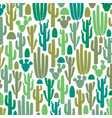 background pattern with group cactus icons vector image vector image