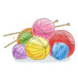 ball of wool doodle watercolor vector image vector image