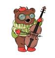 bear musician card animal music cartoon cogratulat vector image vector image