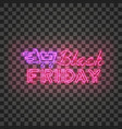 black friday red neon sign with purple shopping vector image vector image