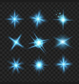 blue shine stars with glitters effect graphic vector image vector image